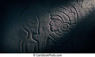 ancien, aztèque, étranger, découpage, temple, homme