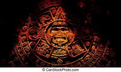 ancien, aztèque, flammes, découpage
