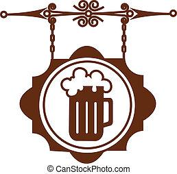 ancien, barre, maison, enseigne, bière, rue, ou, icône