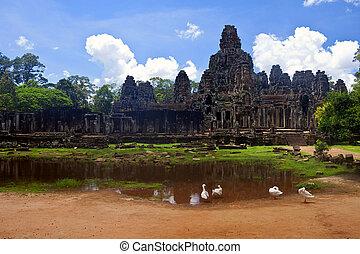 ancien, bayon, cambodia., ruines, temple, angkor