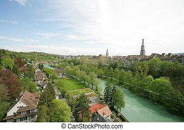 ancien, berne, vue, rivière, ville, suisse