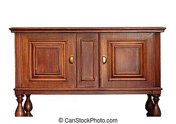 ancien, bois, meubles, sur, blanc