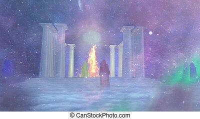 ancien, brûler, temple