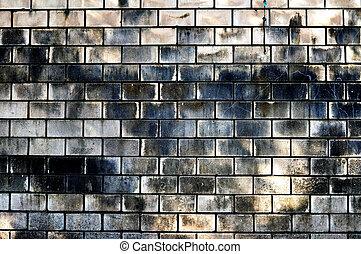 ancien, brique blanche, mur, à, tache, depuis, inondation
