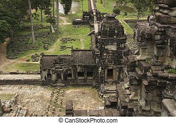 ancien, cambodge, complexe, wat, temple, angkor