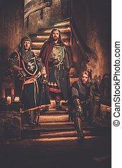 ancien, château, chevaliers, moyen-âge, roi, sien, interior.