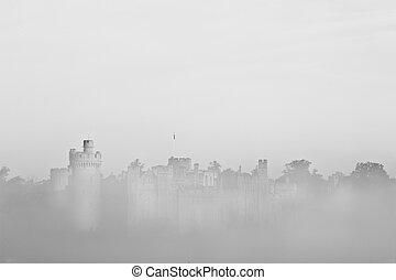 ancien, champ, scène, visible, brouillard, forêt, fond, ...