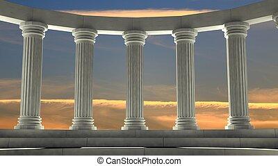 ancien, ciel, arrangement, piliers, elliptique, orange, marbre