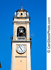 ancien clock tower in old stone and bell - ancien clock...