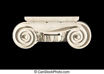 ancien, colonne, détail, ordre, grec, capital, ionique, temple