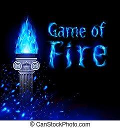 ancien, colonne, flamme