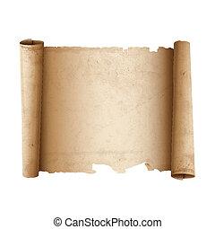 ancien, défilement papier