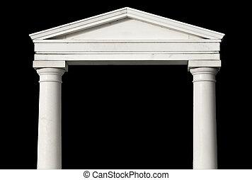 ancien, détail, grec, copie exacte, morceau, temple
