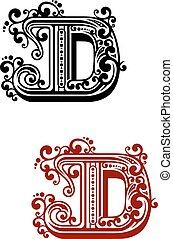 ancien, d, éléments, lettre, capital, floral