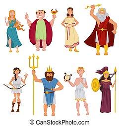 ancien, dieux, grec, vecteur, caractères, dessin animé
