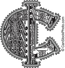 ancien, drawing., symbole, illustration, vecteur, cent