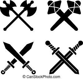 ancien, ensemble, armes, signe