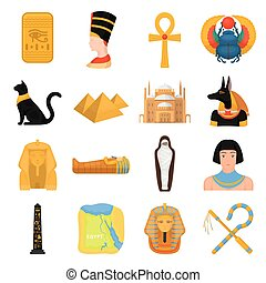 ancien, ensemble, icônes, egypte, grand, symbole, collection, dessin animé, vecteur, illustration, style., stockage