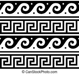 ancien, formulaire, modèle, vagues, -, seamless, traditionnel, grec, vecteur, clã©, grèce