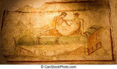 ancien, fresque, dans, pompéi