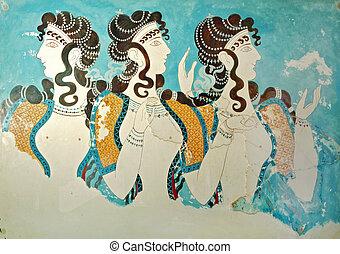 ancien, fresque, depuis, crète, greece.
