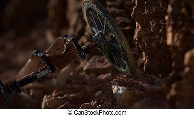 ancien, fusil, canyon, historique, pierre