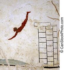 ancien, grec, fresque, dans, paestum, italie, appelé, les,...