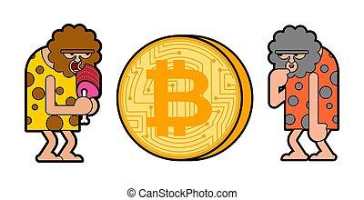 ancien, homme cavernes, préhistorique, bitcoin., cryptocurrency., penser, homme