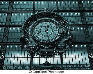 ancien, horloge, paris, musée, -, orsay