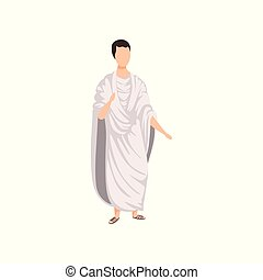 ancien, illustration, rome, traditionnel, romain, vecteur, citoyen, fond, blanc, vêtements, homme