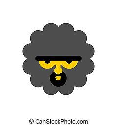 ancien, isolated., homme cavernes, figure, préhistorique, head., homme