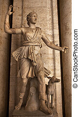 ancien, italie, capitoline, diana, musée, rome, statue, ...