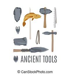ancien, jeu, mettez stylique, outils