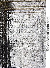 ancien, lettres, image, détail, marbre, grec, fait, incisé, sien, plaque