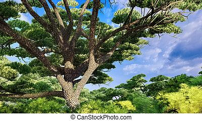 ancien, magnifique, arbre chêne, rendre, 3d