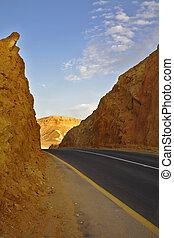 ancien, moderne, désert, autoroute