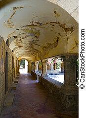 ancien, monastery's, couloir