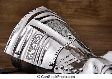 ancien, moyen-âge, armure, gant, métal, détail, partie