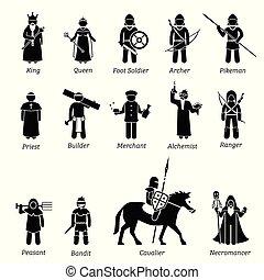 ancien, moyen-âge, guerriers, set., classes, caractères, icône