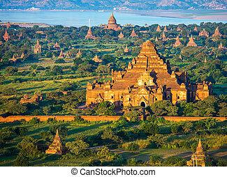 ancien, myanmar, altitude, bagan, pagodes, balloon