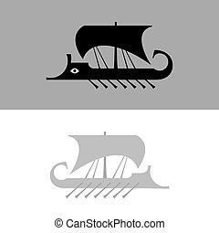 ancien, navire guerre, voilier, grec, (vector, silhouette).,...