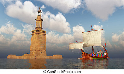 ancien, phare, alexandrie, romain, navire guerre