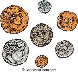 ancien, pièces, rome