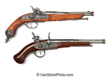 ancien, pistolets, deux