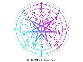 ancien, protection., signes, blanc, symbole, vecteur, année, sorcières, coloré, divination., mystique, symboles, mandala, wicca, wiccan, roue, isolé, la terre, runes, astrologique, zodiaque, ensemble, occulte