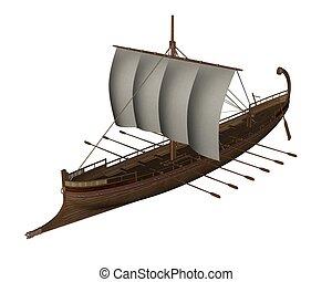 ancien, render, -, grec, bateau, 3d