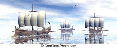 ancien, render, -, grec, bateaux, 3d