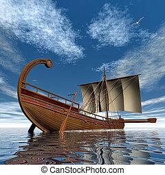 ancien, render, voilier, -, grec, 3d