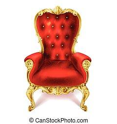 ancien, royal, illustration, vecteur, throne., rouges