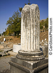 ancien, secteur, restes, pilier, site, grec, archéologique, fillipous
